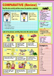 English Worksheet: Comparative (REVIEW)