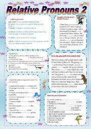 English worksheet: Relative Pronouns 2