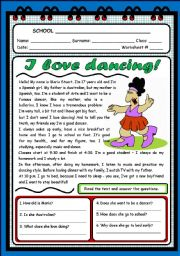 English Worksheet: I LOVE DANCING! (2 PAGES)