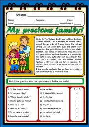 English Worksheet: MY PRECIOUS FAMILY (2 PAGES)