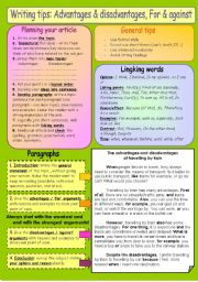 English Worksheet: Writing tips 1: An article expressing advantages & disadvantages, for & against. B&W version included