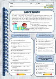 English Worksheets: JACK�S SCHOOL