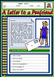 English Worksheet: A LETTER TO A PEN FRIEND - 2 PAGES