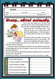 English Worksheets: CRAZY... ABOUT ANIMALS ( 2 PAGES )