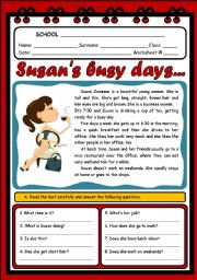 English Worksheet: SUSAN�S BUSY DAYS... (3 PAGES)