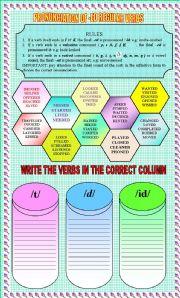English Worksheet: pronunciation of regular past tense verbs with key