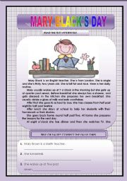 English Worksheets: MARY BLACK�S DAY