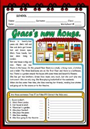 English Worksheets: GRACE�S NEW HOUSE (2 PAGES)