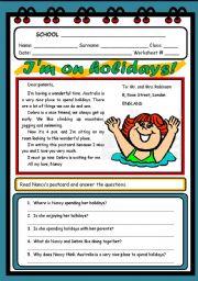 English Worksheet: I´M ON HOLIDAYS!