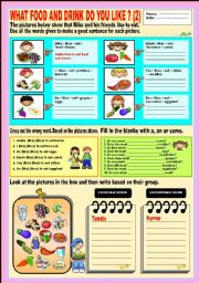 English Worksheets: What food and drink do you like? (Part 2)