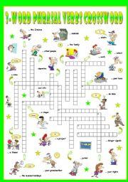 English Worksheet: First series of 3-Word Phrasal Verbs. Crossword (Part 3/3)