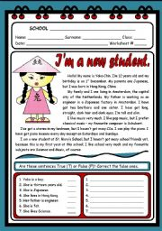 English Worksheets: I�M A NEW STUDENT ( 2 PAGES )