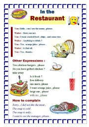 English Worksheet: Ordering your meal in a restaurant