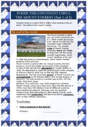 English Worksheet: Inside the continent China - The Mount Everest (Part 1 of 2)