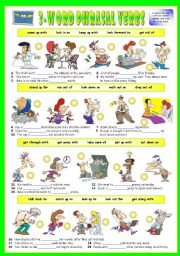 English Worksheet: First series of 3-Word Phrasal Verbs. Exercises (Part 2/3). Key included!!!