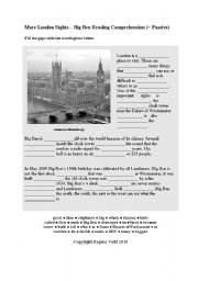 English Worksheet: More London Sights � Big Ben Reading Comprehension (+ Passive Voice) (by blunderbuster)