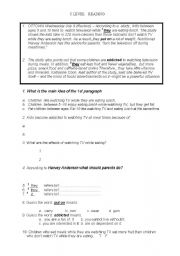 English Worksheets: turn the television off during mealtimes