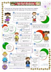 English Worksheet: New Year´s resolutions dialogues - focus on Grammar: will future