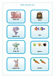 English Worksheets: WHAT ANIMALS EAT  1/4