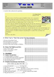 English Worksheets: elementary reading comprehension