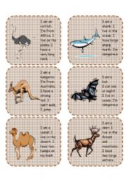 English Worksheets: Wild animals speaking cards