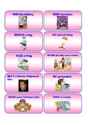 English Worksheet: HAVE YOU EVER...? practice cards 1 / 2