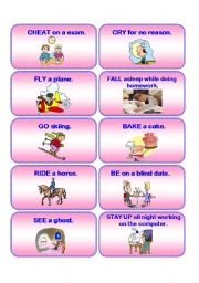 English Worksheet: HAVE YOU EVER....? practice cards 2/2