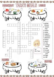 English Worksheet: Tara�s meals (2) Crossword