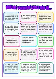 English Worksheets: What would you do if_conversation flash-cards