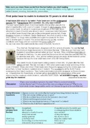 English Worksheets: Polar Bear shot dead after swimming 200 miles!