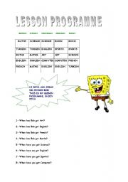 English Worksheets: lessons and days