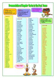 English Worksheet: Pronunciation of Regular Verbs in the Past