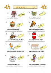 English Worksheets: how much