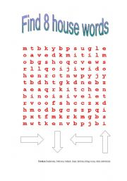 English worksheets: House word search