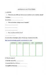 English Worksheets: ANIMALS ACTIVITIES