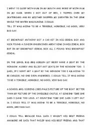 English Worksheets: Aexander´s terrible no good very bad day