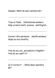 English Worksheet: Jeopardy questions