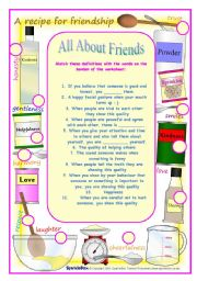 English Worksheets: All about Friends Vocabulary, Reading and Reading Exercises (3 pages)