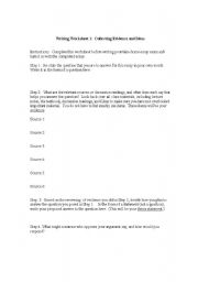 English Worksheets: Writing Worksheet: Collecting Evidence and Ideas
