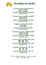 English Worksheet: THE WHEELS ON THE BUS - lyrics