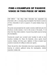 English worksheet: newspaper article + passive voice