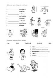 Worksheets English Learners Worksheets worksheet for young learners about jobs jobsadjectives