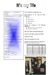 English Worksheet: It�s my life by Bon Jovi