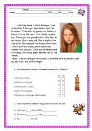Reading Comprehension Test/Worksheet - Family/Physical description