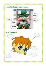 English worksheet: happy leprechaun
