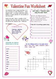 valentine fun worksheet. Black Bedroom Furniture Sets. Home Design Ideas