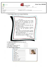 English Worksheet: test about time, personal ID and question words