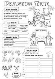 English Worksheets: Practice Time
