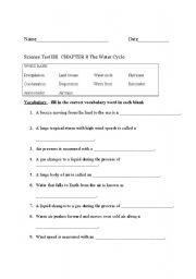 English teaching worksheets: Water cycle