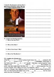 English Worksheets: Witness- a film by Peter Weir